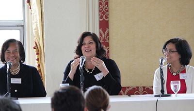 WWT Leadership Luncheon, May 11, 2017: (From Left) The Honorable Vanessa Bryant, United States District Court, The Honorable Sheila Prats, Connecticut Superior Court, The Honorable Nina Elgo, Connecticut Superior Court