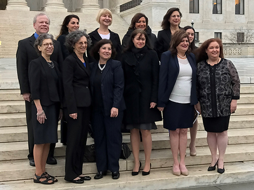 Barbara Freedman Wand (top row, center) gathers with other Hadassah National Attorneys Council members on the steps of the Supreme Court before their swearing in