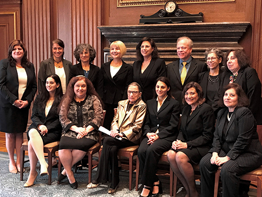 Barbara Freedman Wand (standing, third from left) and Hadassah National Attorneys Council members meet with Justice Ginsburg (seated, third from left)